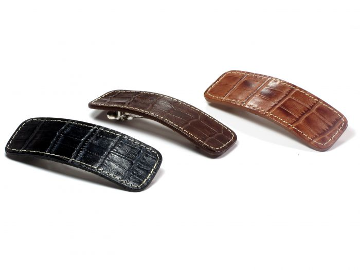 Elea læder Hårspänne – 10 cm - MAHOGNY